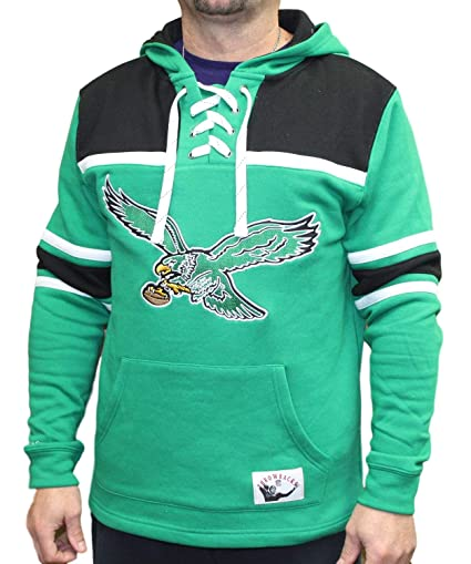 low priced 43db9 ba7db Mitchell & Ness Philadelphia Eagles NFL Skate Lace Pullover Hooded  Sweatshirt