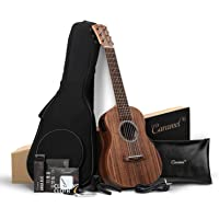 Caramel 30 inch 6 Strings CB204G All Solid Acacia Wood LCD color display Electric Ukulele Guitalele Mini Travel Guitar…