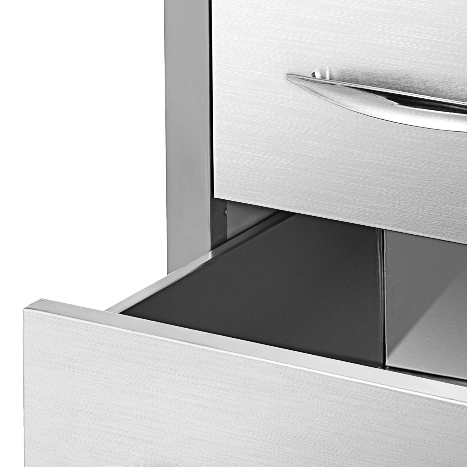 Mophorn 15''x21'' Outdoor Kitchen Drawer Stainless Steel Triple Access Drawer BBQ Storage with Chrome Handle Flush Mount Sliver by Mophorn (Image #8)