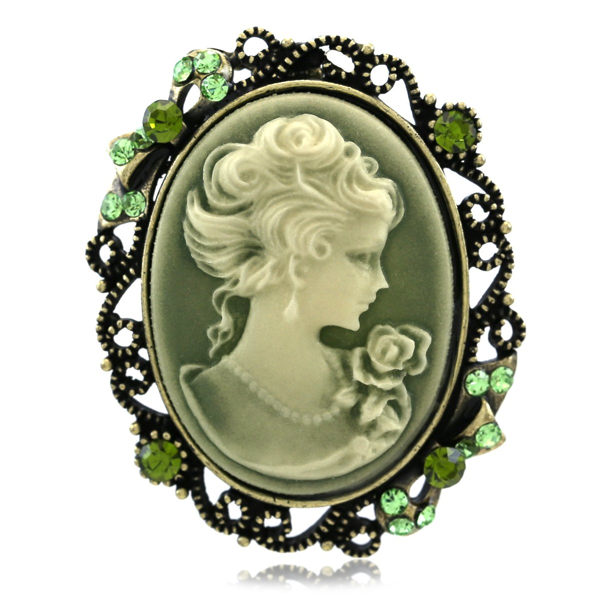 Soulbreezecollection Green Cameo Brooch Pin Charm for Women Necklace Pendant Compatible