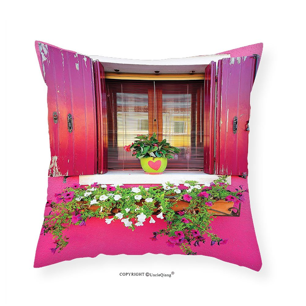 VROSELV Custom Cotton Linen Pillowcase Rustic Decor Dreams Romantic Atmosphere House Wooden Windows Hearts Flowers Bougainvilleas Decorations Digital Printed Photo Hanging Living Room Bedroo 20''x20''