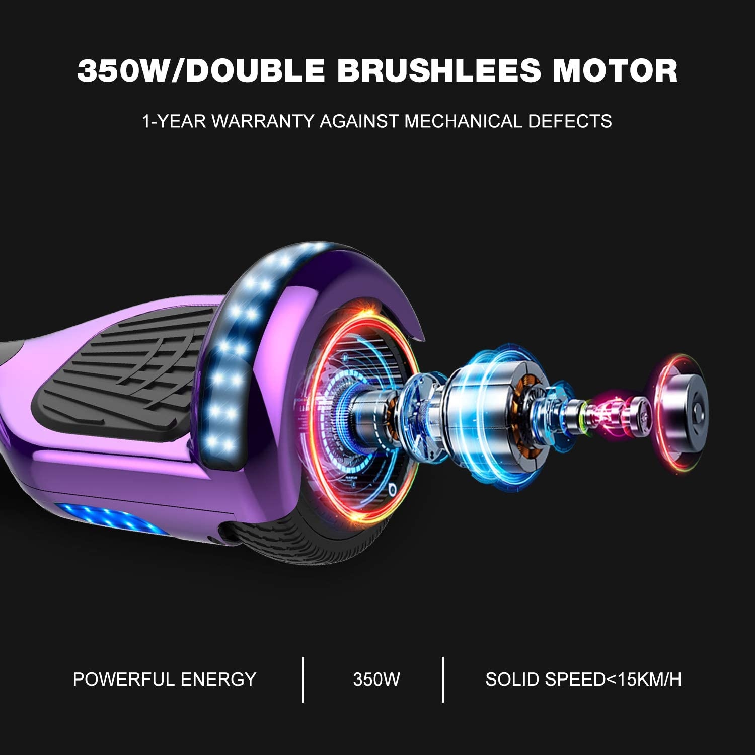 GeekMe Self Balancing Electric Scooter 6.5 inch purple - 1