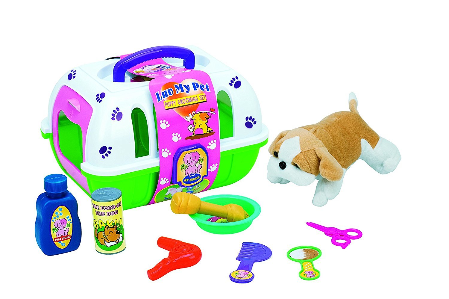 Deluxe Pet Care Puppy Dog Grooming Set Carry Case Pretend Playset Toy - with 1 Puppy with Sound & Accessories 10Pcs Set Coolbitz
