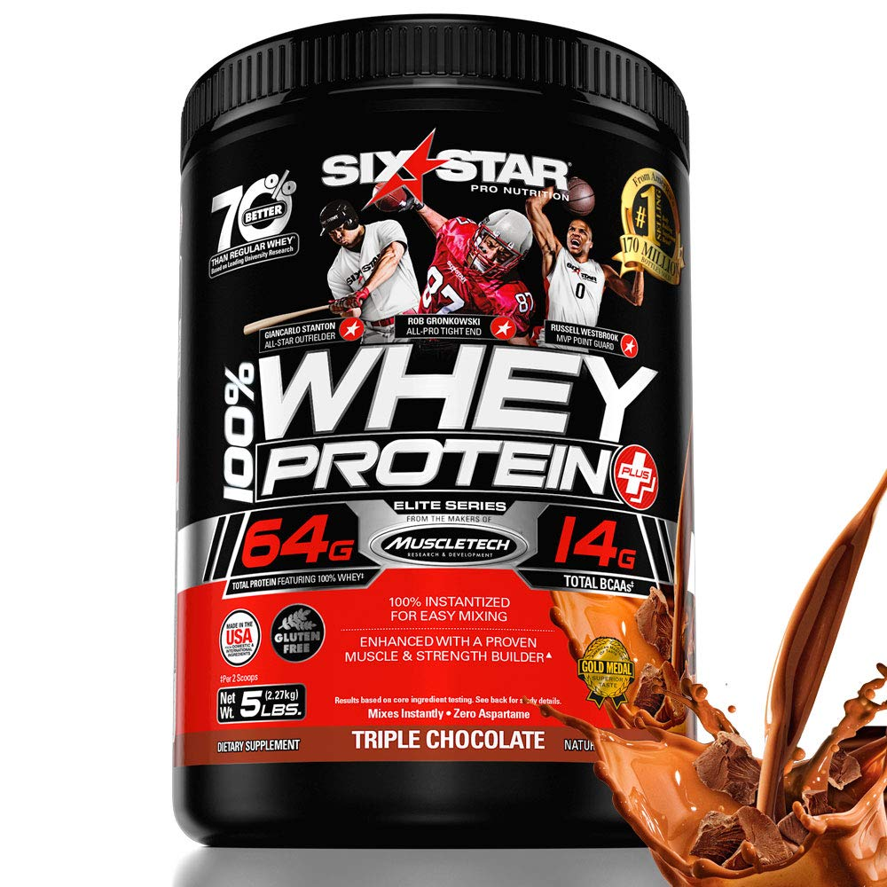 9634f7b6b Amazon.com: Six Star Elite Series 100% Whey Protein Powder Plus Muscle  Builder, 32g Ultra-Pure Whey Protein Powder, Triple Chocolate, 5 Pound:  Health ...