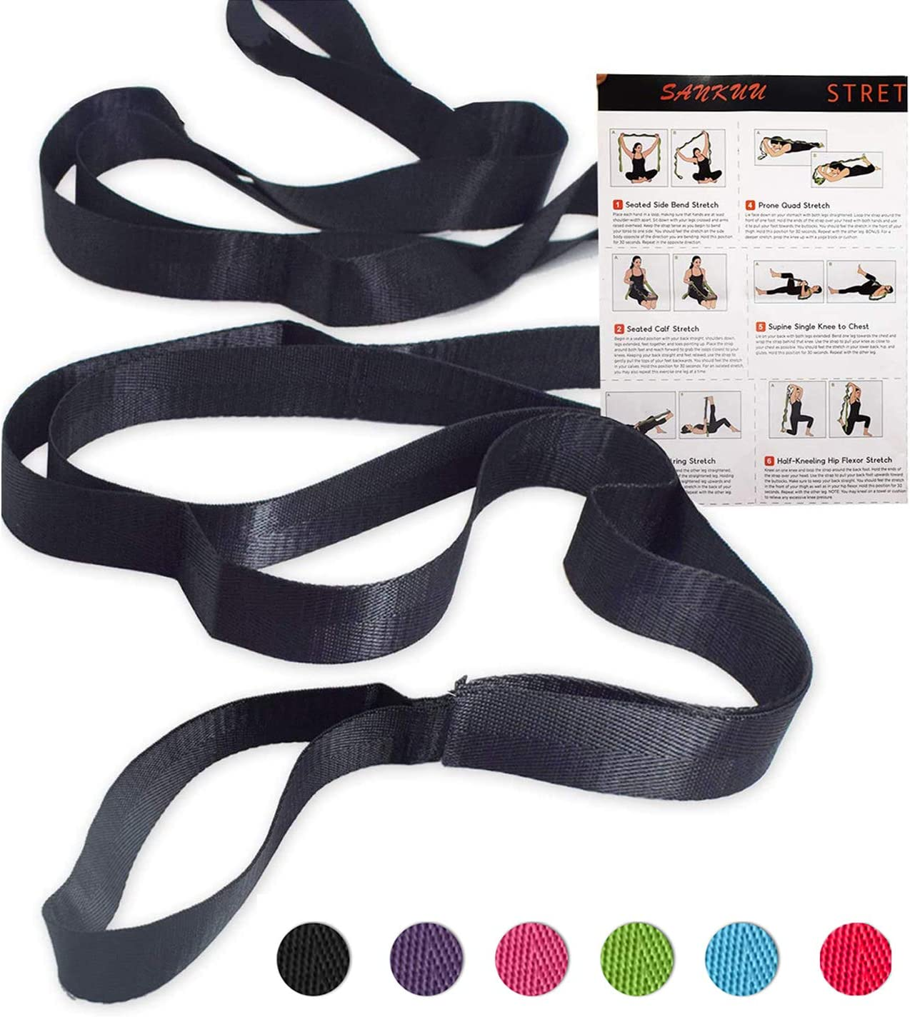 Amazon Com Sankuu 12 Loops Yoga Stretch Strap For Physical Therapy With Exercise Instruction Sports Outdoors
