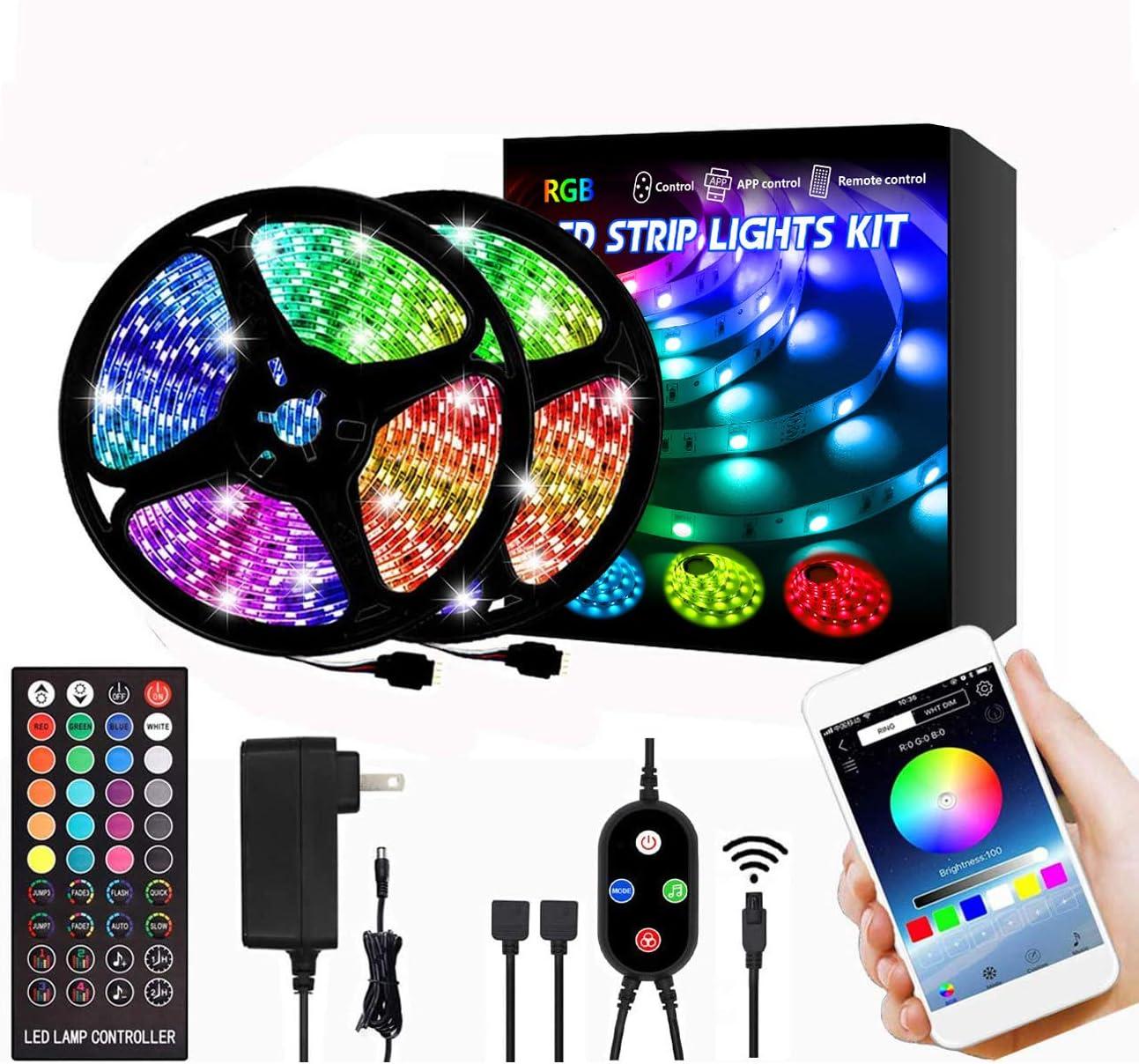RGB 300LED Strip Lamp Bar USB TV Back Lighting Strips with Bluetooth APP Remote