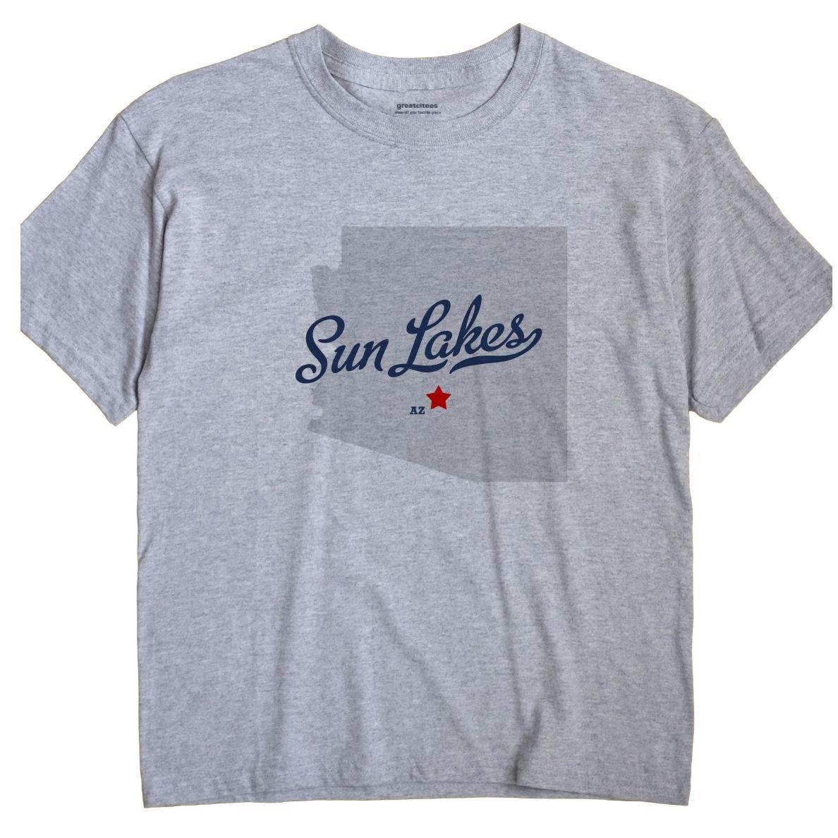 Greatcitees Sun Lakes Arizona Az Map Unisex Souvenir T Shirt