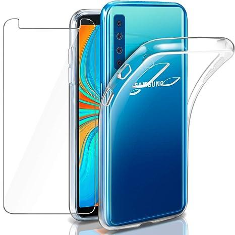Coque Galaxy A9 2018 Transparente + Verre trempé écran Protecteur, Leathlux  Souple Silicone Étui Protection a92bffd03b5b