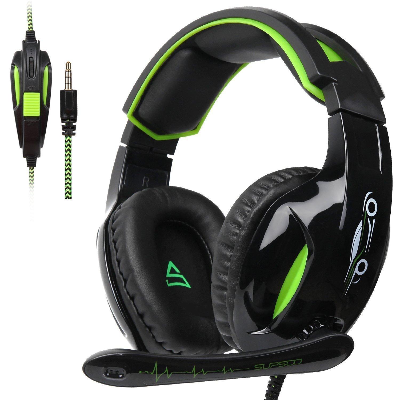 Supsoo G813Cuffie da Gioco per Xbox One, 3,5mm, Stereo, cablate, con Microfono, cancellazione del Rumore e Controllo del Volume, per Xbox One/PC/MAC/PS4/tablet/telefono (Nero & Verde)