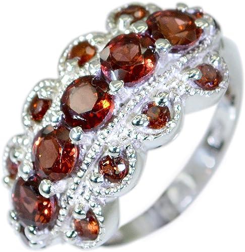 CaratYogi Real Multi Color Gemstone Band Promise Ring Round Shape Cluster Style Size 5 6 7 8 9 10 11 12