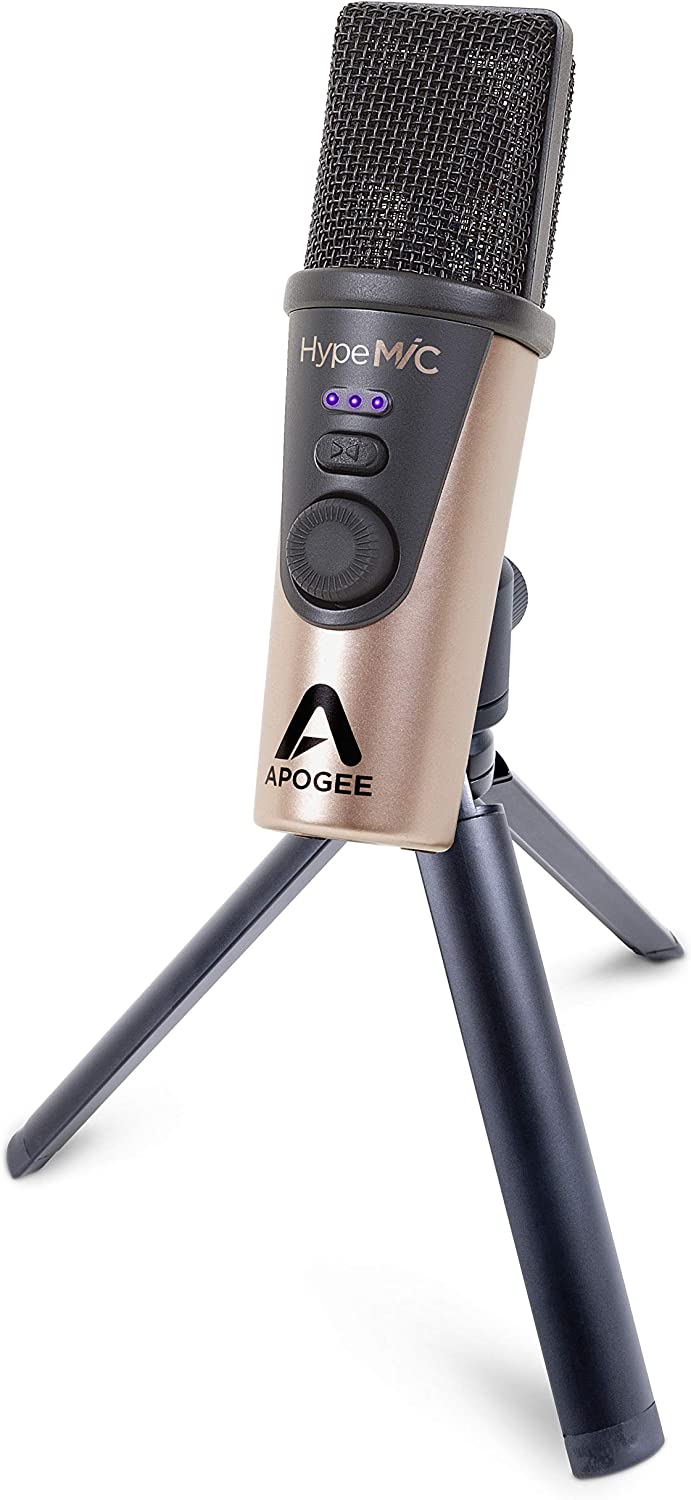 Apogee Hype Mic - USB Microphone with Analog Compression for CapturingVocals and Instruments, Streaming, Podcasting, and Gaming, Made in USA