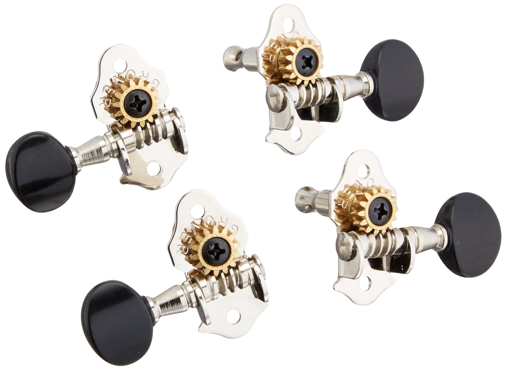 Grover 9NB Sta-Tite Ukulele Tuners, Nickel with Black Buttons