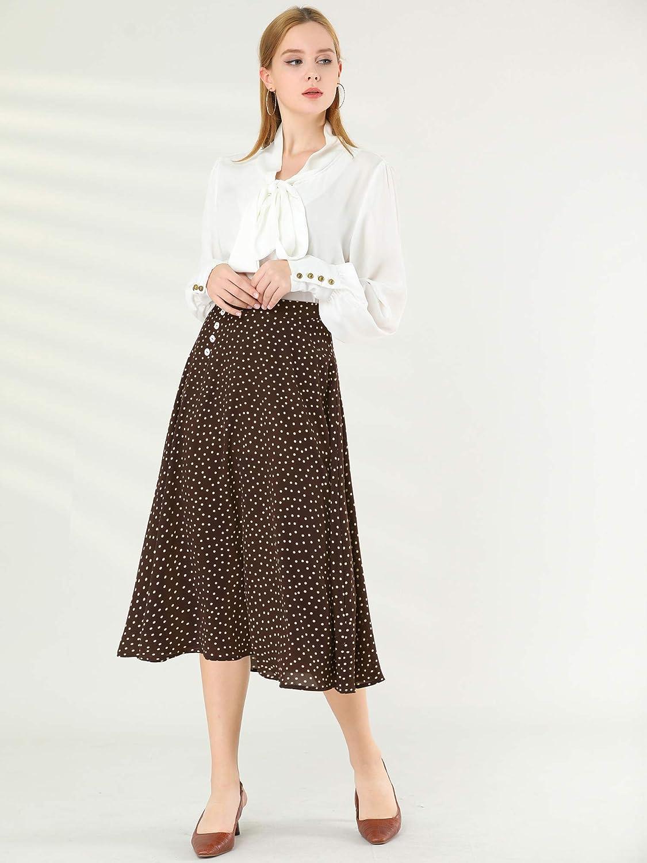 1980s Clothing, Fashion | 80s Style Clothes Allegra K Womens Retro Polka Dots Elastic Waist Vintage A-Line Midi Skirt $24.99 AT vintagedancer.com
