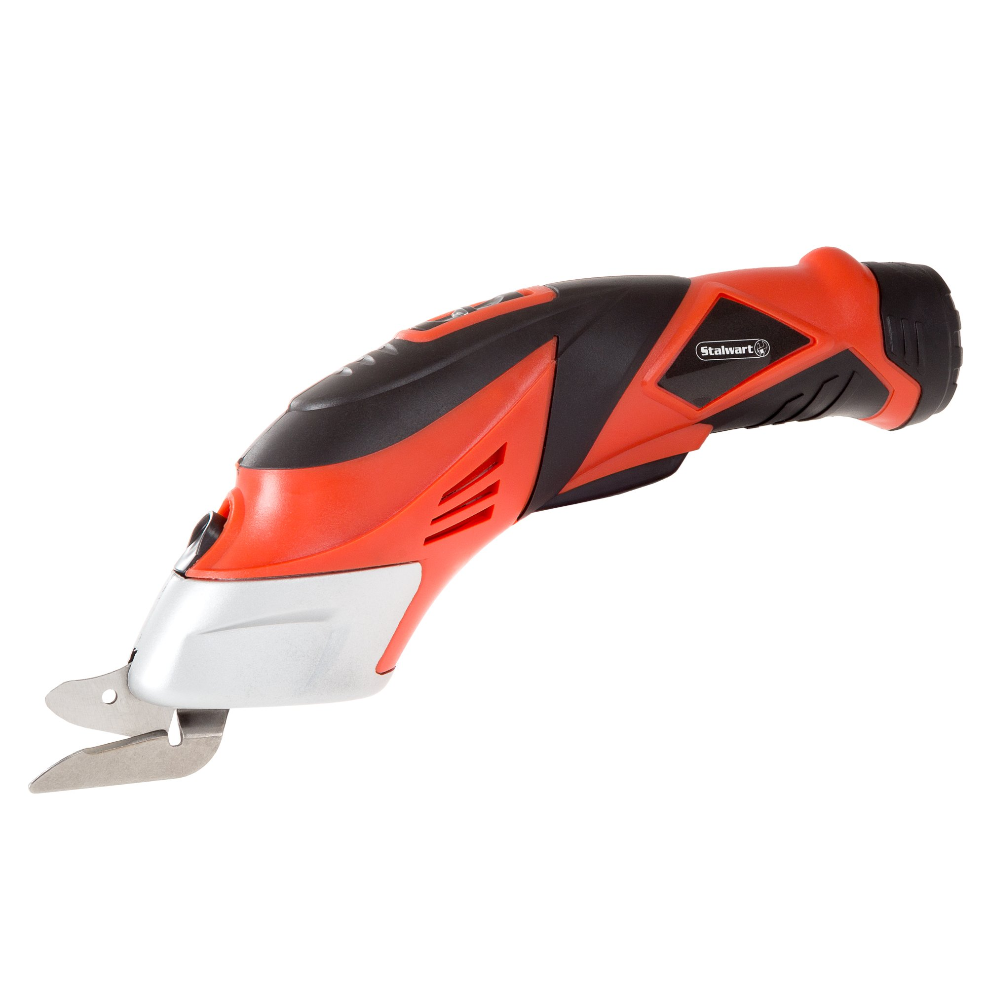 Cordless Power Scissors With Two Blades - Fabric, Leather, Carpet and Cardboard Cutter- 3.6V NiCad Lithium Ion Rechargeable Battery By Stalwart Red