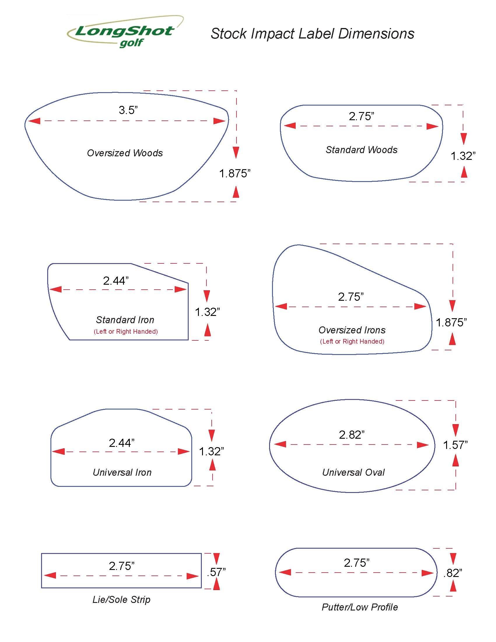 LongShot Golf Impact Label Pack - 125 Woods 125 Irons by LongShot Golf