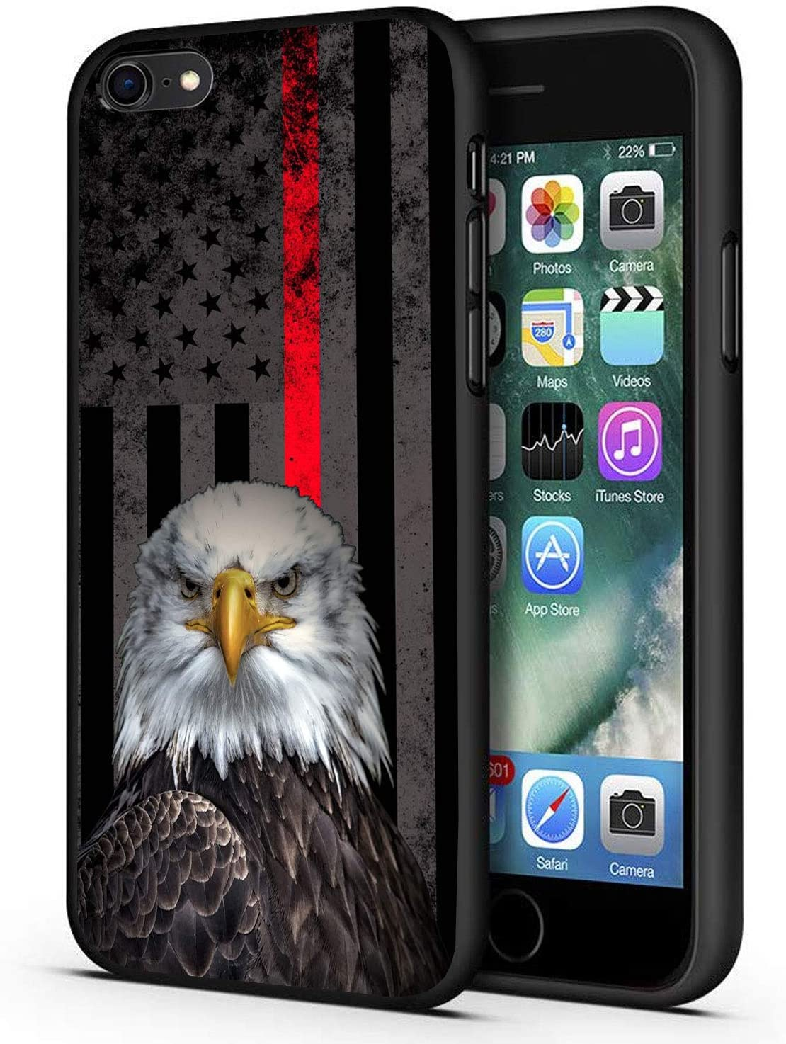 Good-Luck iPhone SE Case,iPhone 5S/5 Case,Bald Eagle Thine Red Line American Flag Slim Anti-Scratch Shockproof Leather Grain Soft TPU Back Protective Cover Case for iPhone SE/5S/5