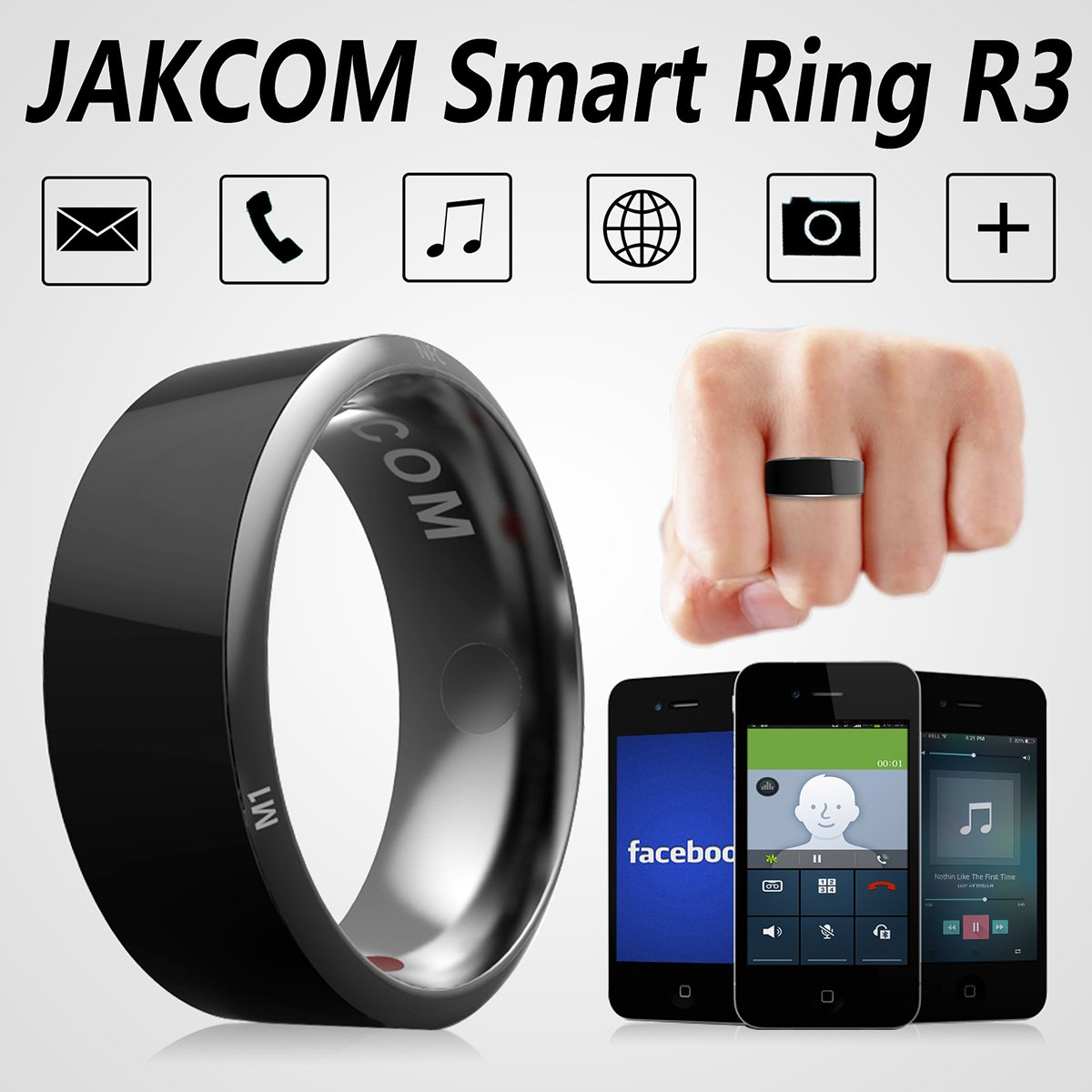 OLSUS Electronic Smart Ring Metal Mini Magic Ring - Black (Size 12)