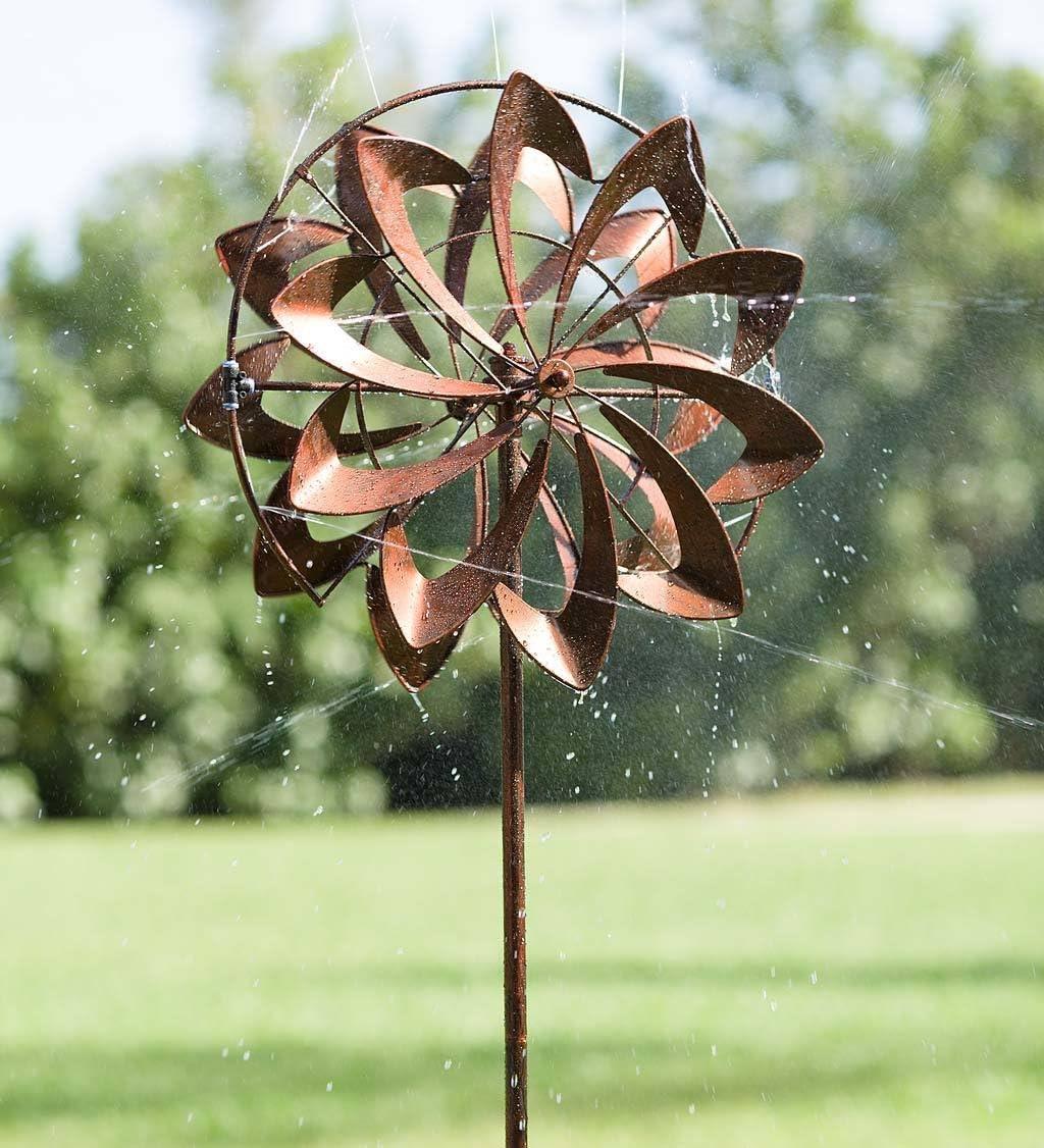 Plow & Hearth 55081-COP Hydro Flower Blossom Water Sprinkler Garden Wind Spinner, Copper Finish