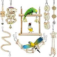 Queenser 8 peças Brinquedos para mastigar papagaio Brinquedos para pássaros Balanço de madeira Escada macia Escada de…
