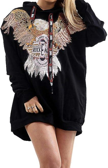Womens Ladies Sequin Eagle Print Long Sleeve Sweatshirt Jumper Top UK 8-14