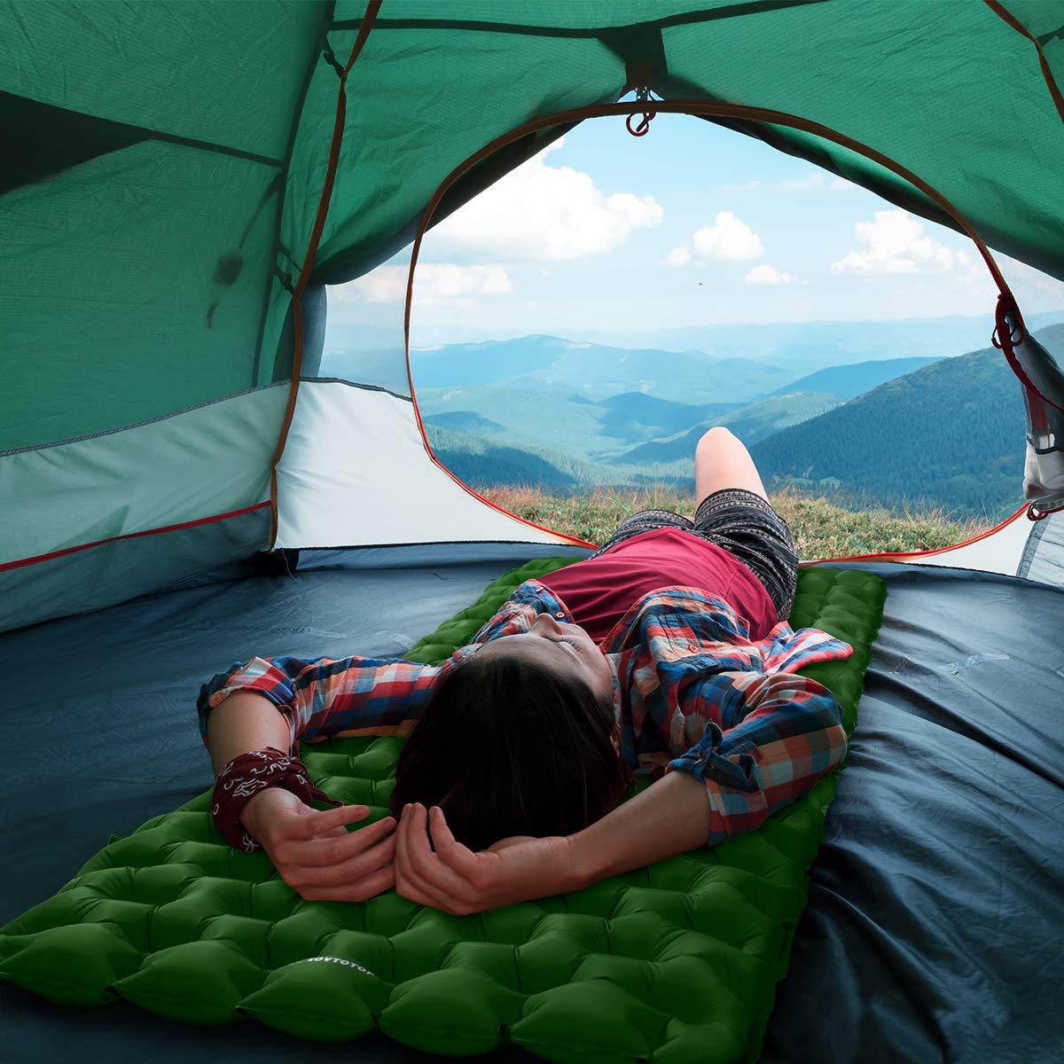 Viajes y Caminatas MOVTOTOP Colchoneta Inflable para Acampar con Almohadilla para Dormir con Kit de reparaci/ón Colch/ón de Campamento liviano y Compacto para mochileros Verde