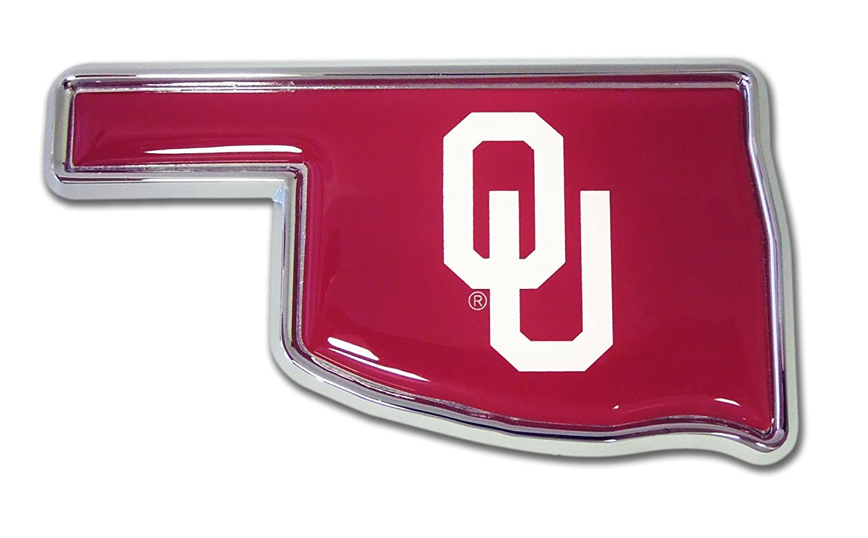 of Oklahoma OK shape with color Univ Car Emblem ELEKTROPLATE