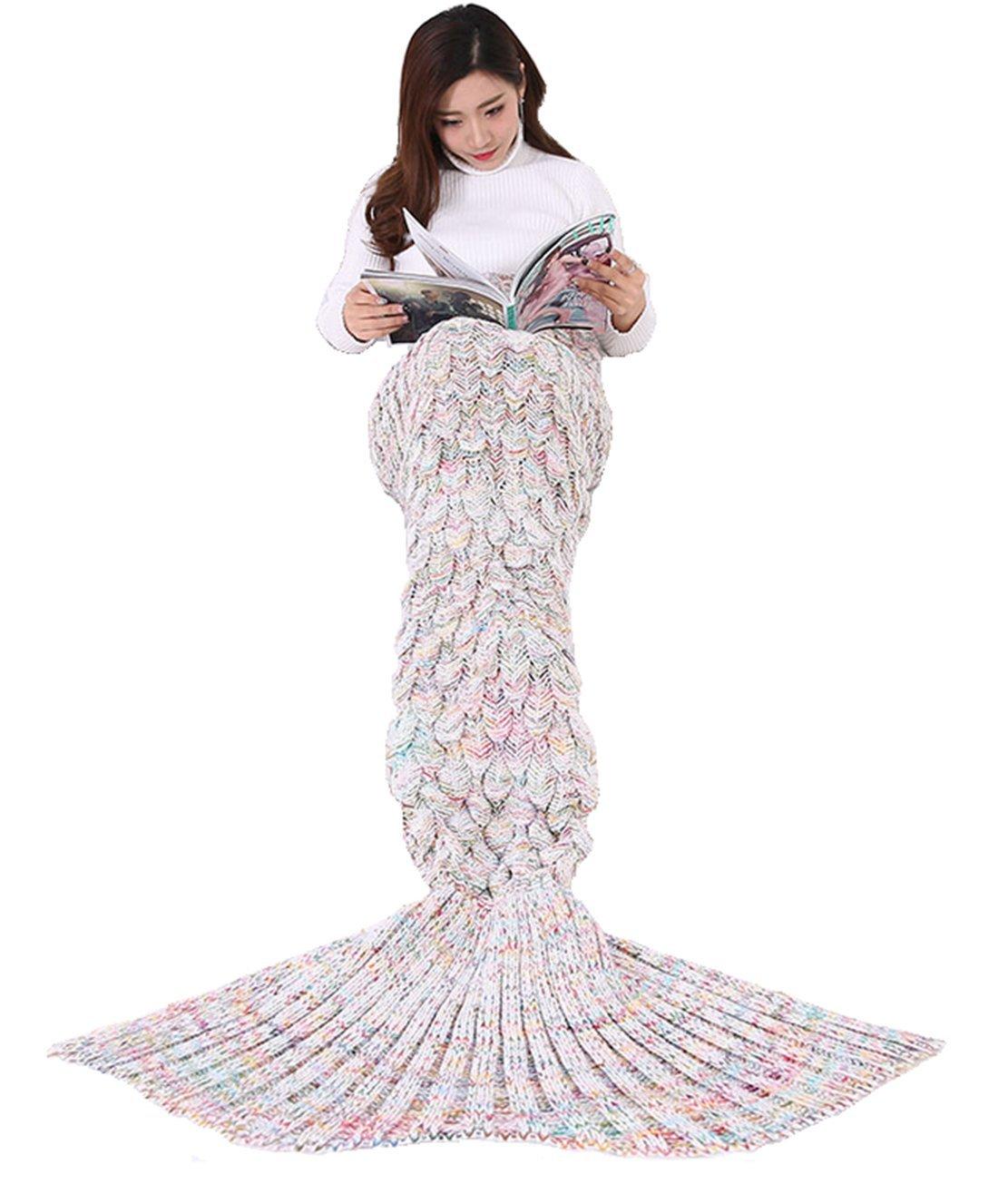 Mermaid Tail Blanket with Scale Knit Crochet Mermaid Blanket for Adult,Teenagers,Kids,Soft Living Room Sofa Sleeping Blankets Sleeping Bags,All Seasons Warm Bed Blankets (White, 76'' x 37'' 1.65lb)