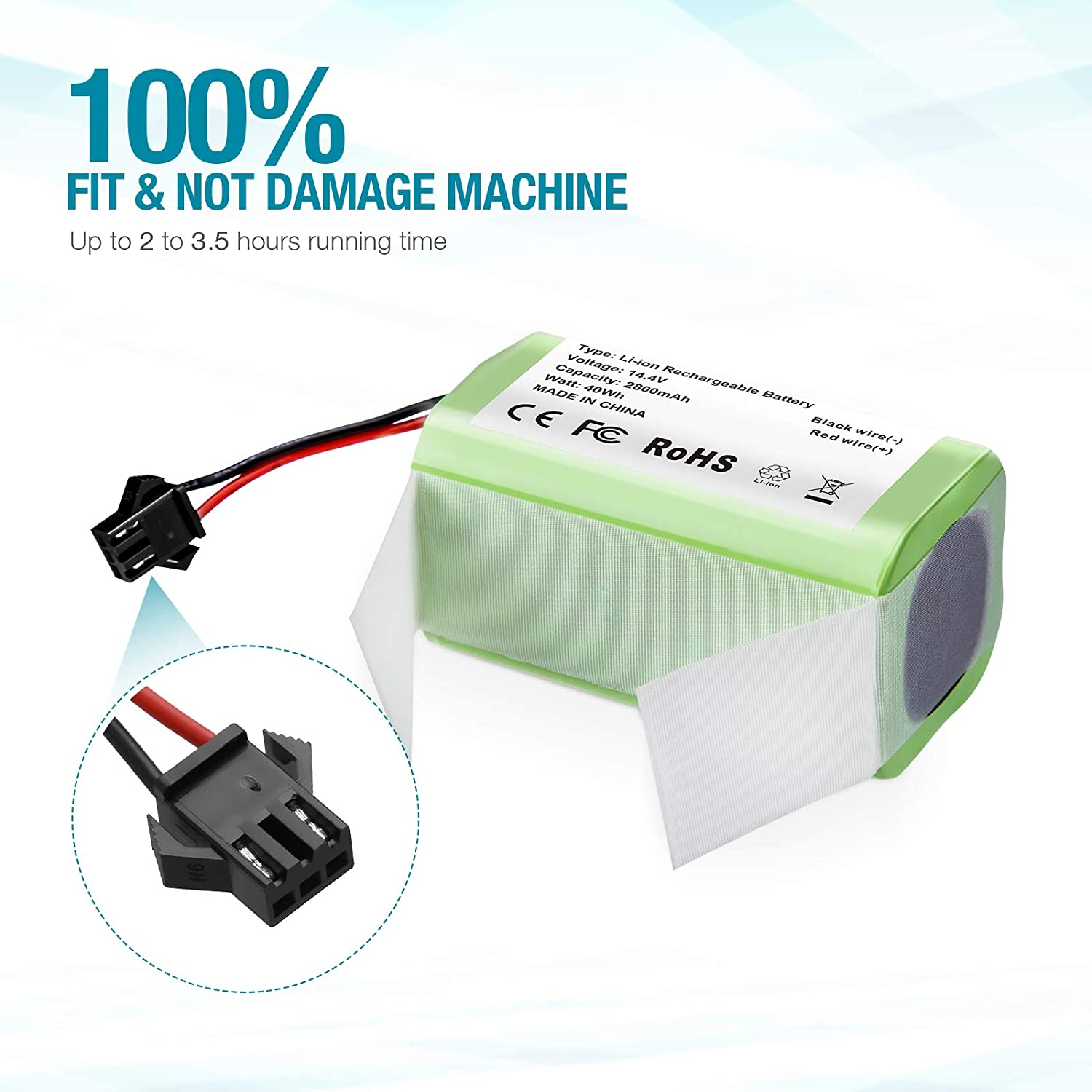 30C MAX SURTOP Upgraded 14.4v 2800mAh Li-ion RoboVac Replacement Battery Pack Higher Performance 25C 35C Accessory Compatible with RoboVac 11S 11S MAX Safer 15T 30 12 15C 15C MAX