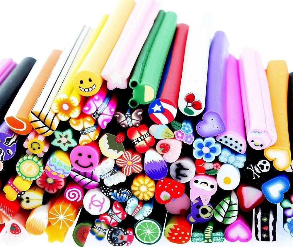 100 unidades varillas/cañas de fimo nail art DIY 3D - decoración, arcilla de color by DURSHANI