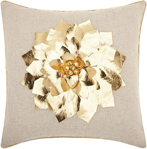Nourison Mina Victory L1441 Home for The Holiday Poinsettia Throw Pillow, 16 x 16 , Gold