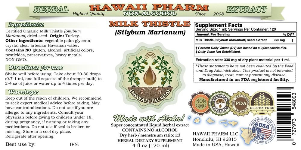 Milk Thistle Alcohol-FREE Liquid Extract, Organic Milk Thistle (Silybum marianum) Dried Seed Glycerite 4x4 oz by HawaiiPharm (Image #2)