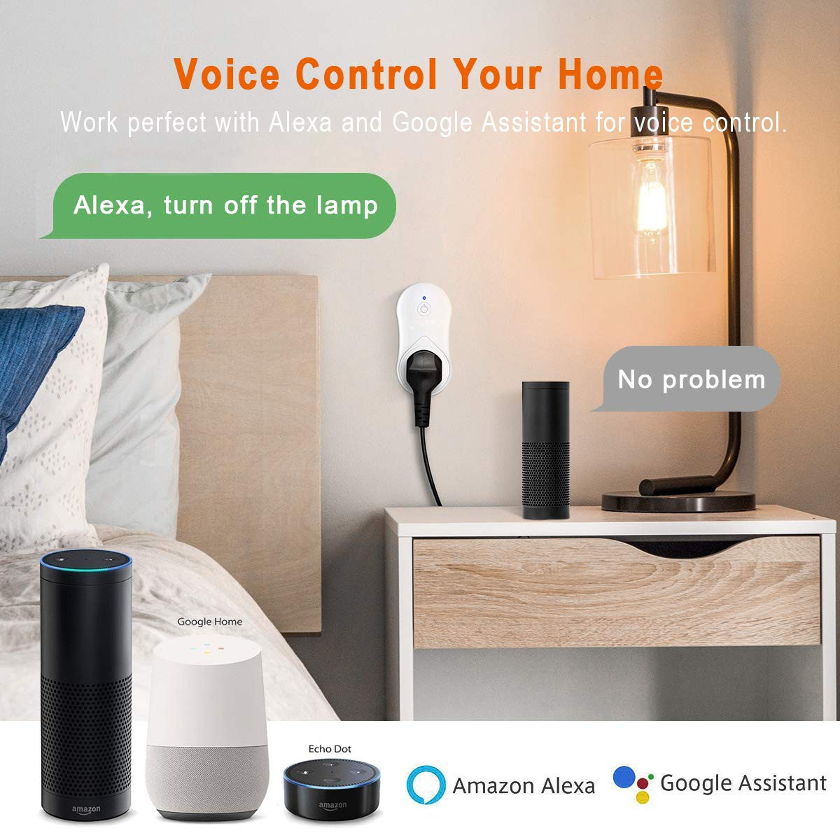 No Hub Required Compatible with Google Home and IFTTT 2 Packs Wireless Socket Remote Control Timer Plug Switch Wesho Smart WiFi with USB Output