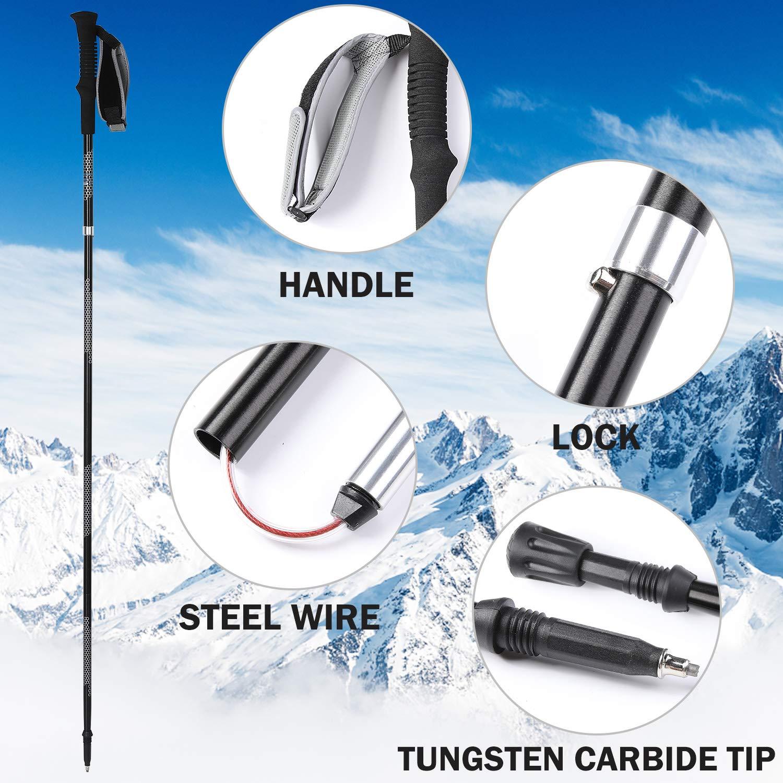 NGOZI Trekking Poles 2 Poles Walking Sticks Collapsible Lightweight Aluminum Snow Shoes Poles for Hiking//Camping//Mountainin//Backpacking 1 Set