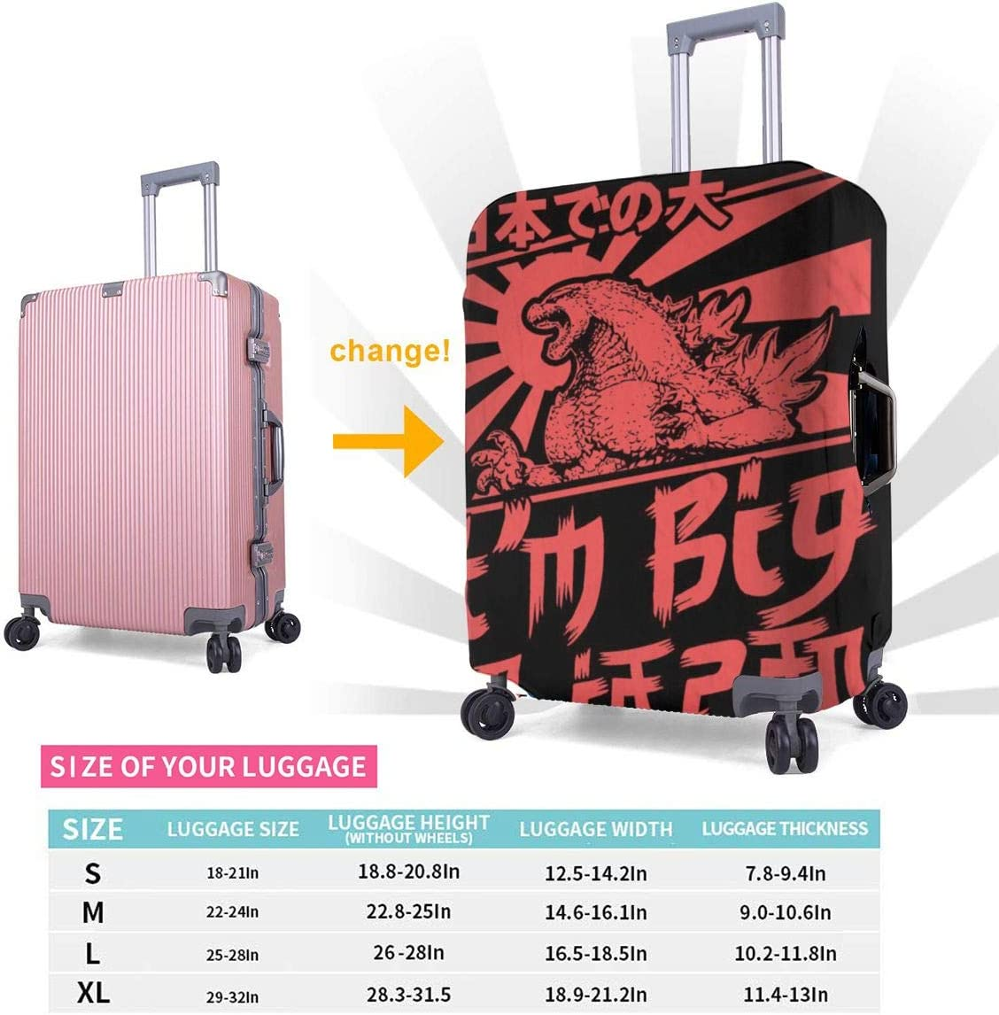 God-zilla Big In Japan Elastic Travel Luggage Cover,Double Print Fashion Washable Suitcase Protective Cover Fit For 18-32 Inch Luggage