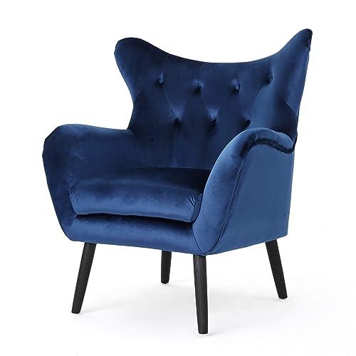Christopher Knight Home 303584 Ashton Mid Century Navy Blue Velvet Arm Chair