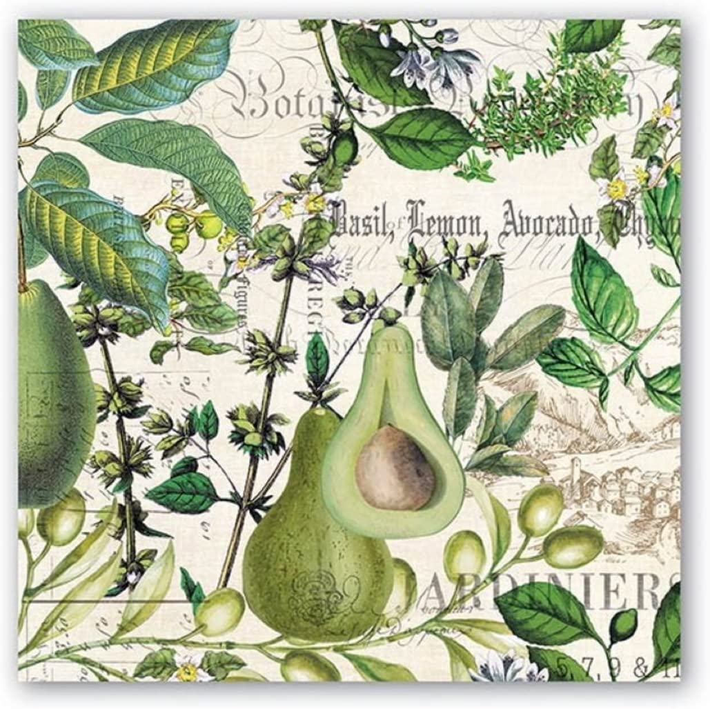 Michel Design Works 20-Count 3-Ply Paper Luncheon Napkins, Avocado