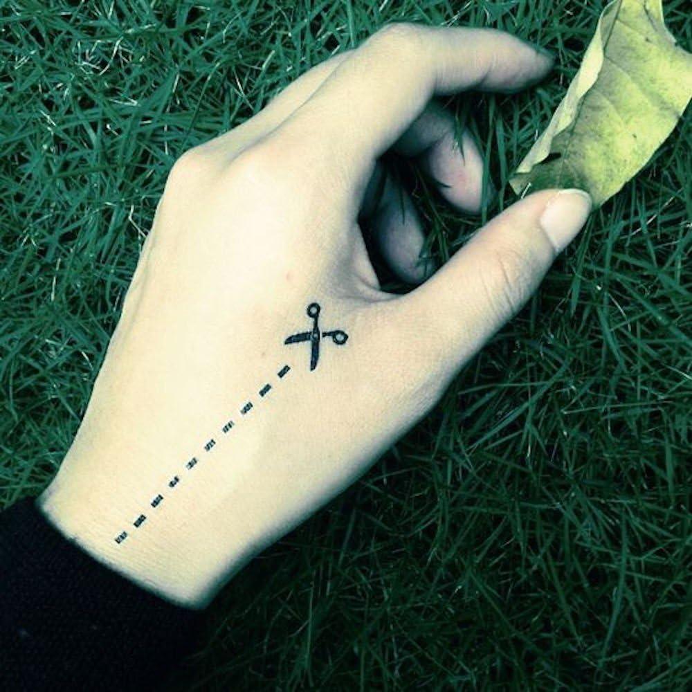 Tatuaje Temporal de Línea de puntos de corte de tijera (2 Piezas ...