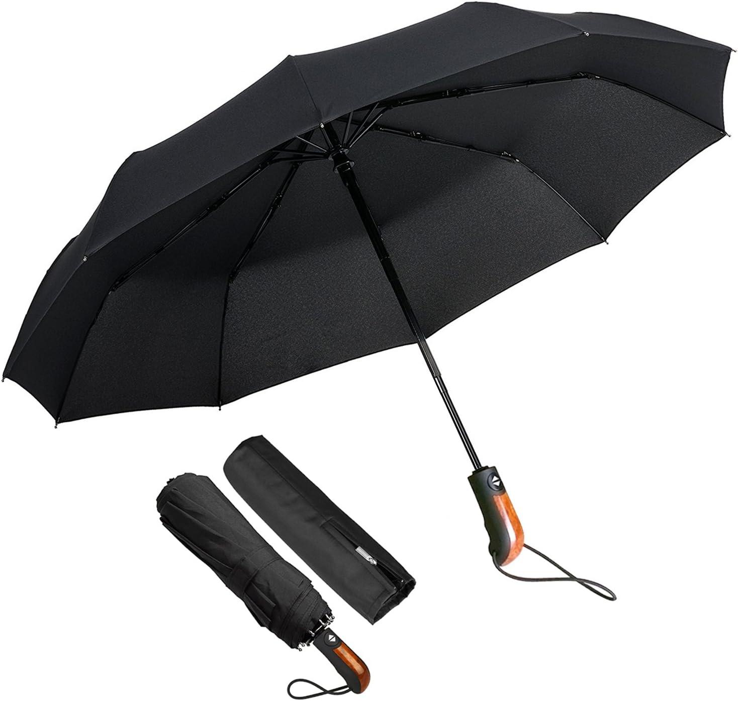 ECHOICE Paraguas plegable portátil ligero compacto a prueba de viento con tapa X-Grand Negro