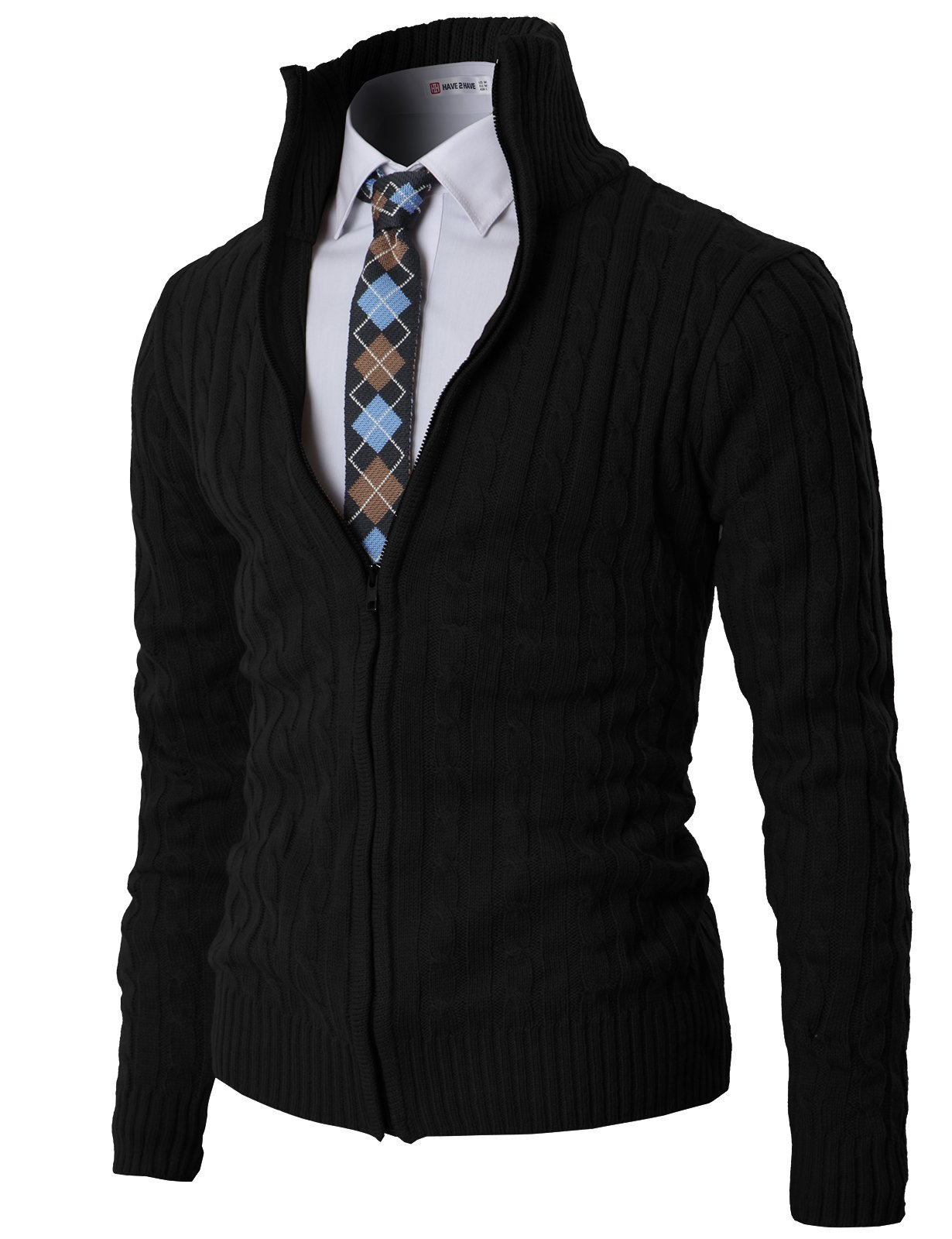 H2H Mens Casual Knited Cardigan Zip up with Twisted Pattern Black US M/Asia M (KMOCAL017)