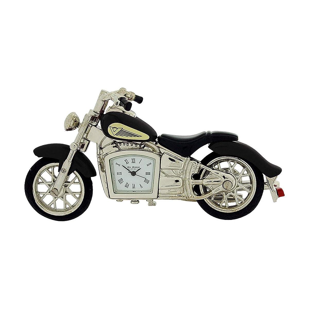 Miniature Black Indian Style Motorbike Novelty Collectors Clock - 9497B