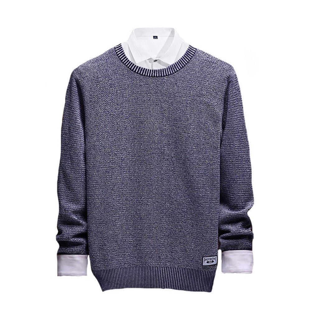 Jdfosvm männer - Pullover, männer - Herbst - Winter - männer - Pullover lässig Pullover um den Hals,Navy Blau,l