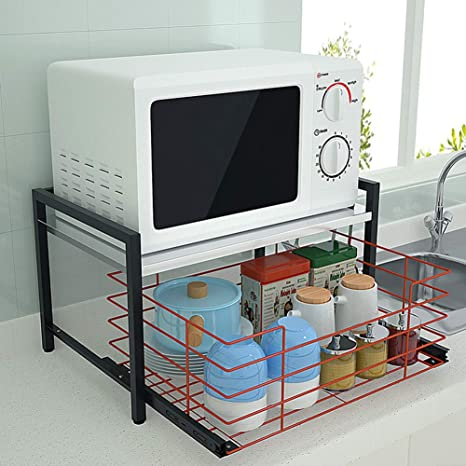 Cassiela Retractable Microwave Oven Rack Rack With Spice Rack Organizer 3 Tier Microwave Oven Rack Stand Shelf Stainless Steel Kitchen Storage Organizer Expandable