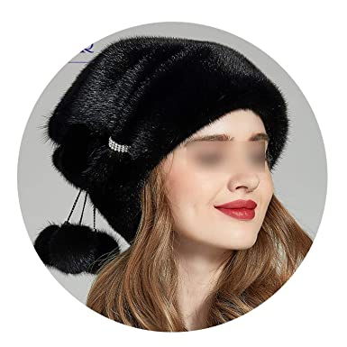 Winter Mink Fur Women Hats Real Fur Pompom Female Fashion Cap Luxurious  Mink Fur Lady Beanies 1db06ea966b
