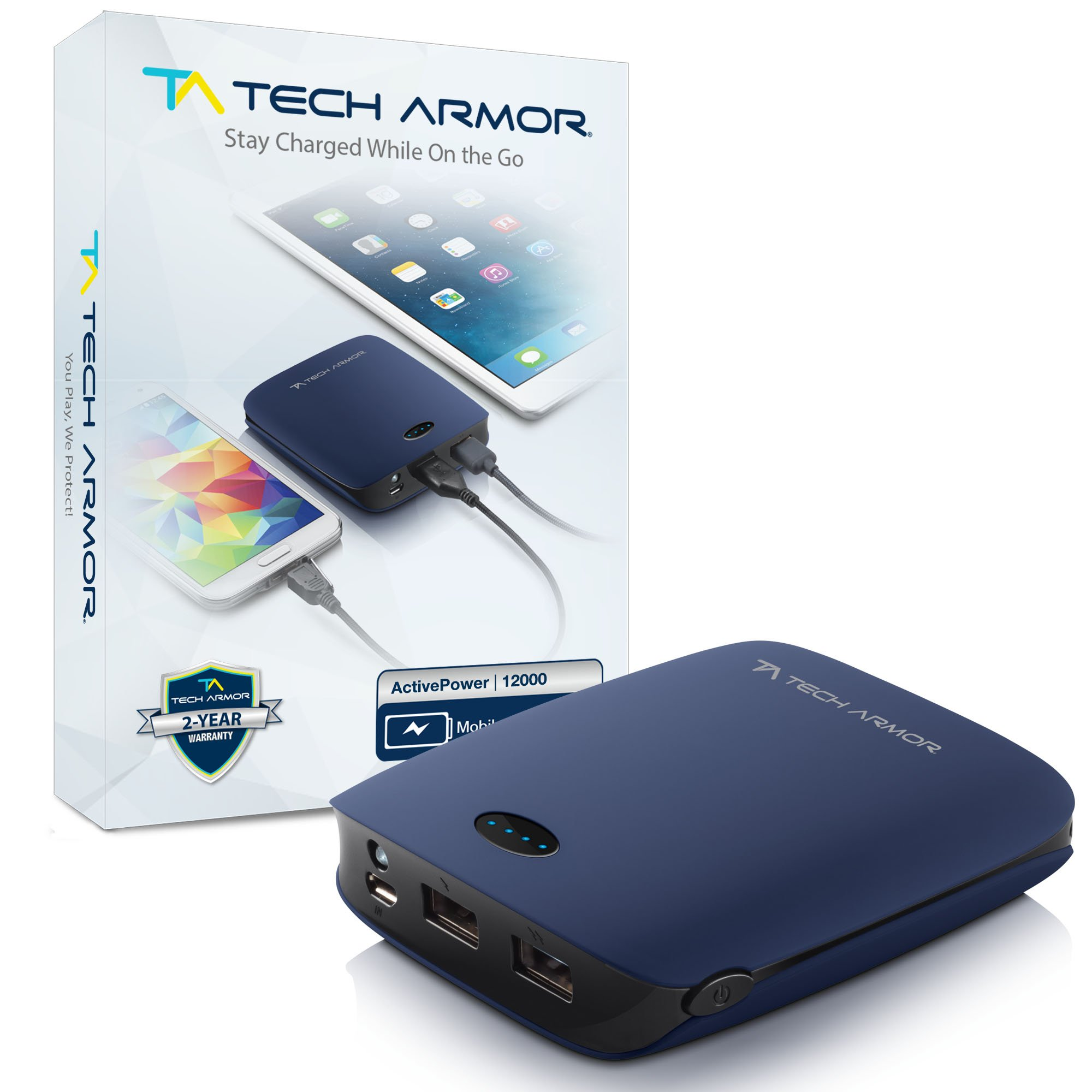 Tech Armor ActivePower 12000mAh External Battery Portable Dual USB Charger Power Bank - Fast Charging, High Capacity and Ultra Compact