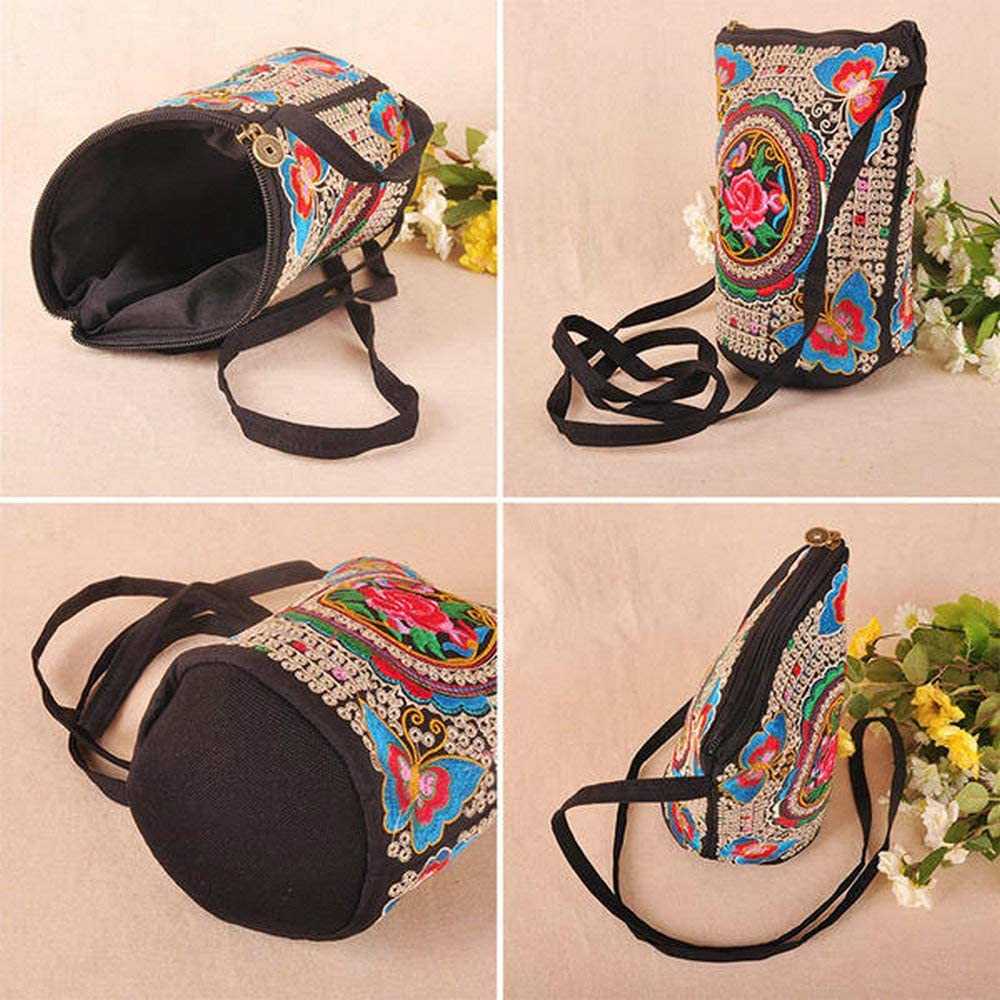Fishagelo Women Embroidered National Style Crossbody Bag Color : Color Rose, Size : OneSize