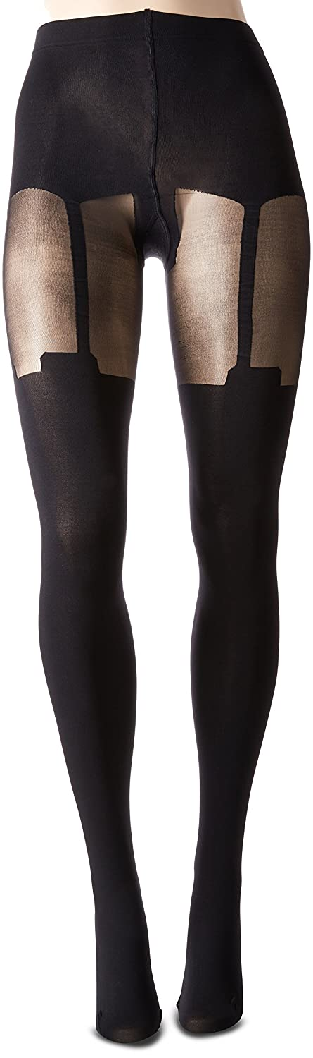b9df25088f386 Pretty Polly Women's Super Suspender Tights, Black, One Size at Amazon  Women's Clothing store: