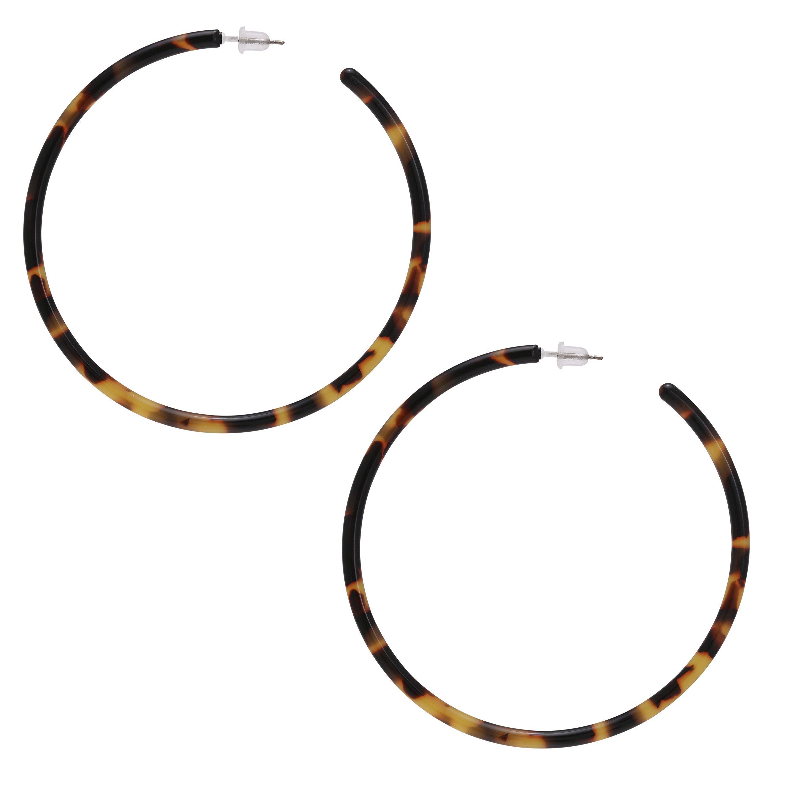 Multi Color Mottled Tortoise Shell Acrylic Resin Basic Big Circlee Hoop Earrings