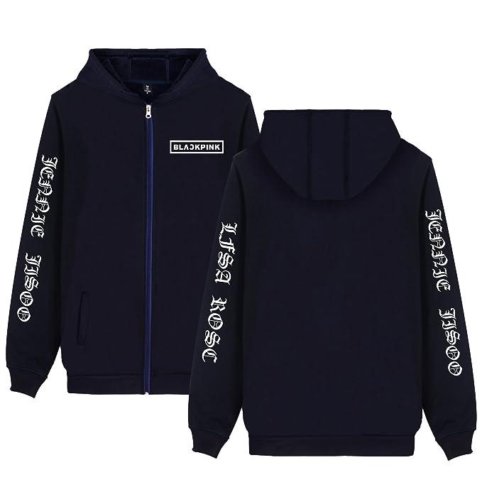 CTOOO 2018 Versión Coreana Blackpink Combinación Simple Sanskrit Sudaderas con Capucha con Cremallera Suéter Hombres: Amazon.es: Ropa y accesorios