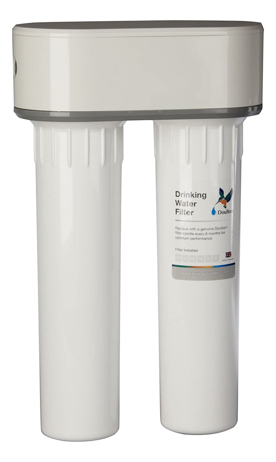 Doulton DUO under sink Drinking Water Filter Housing ¦ includes a Doulton Fluoride Reduction Filter and a Doulton SuperCarb Ceramic Filter Candle ¦ 3/8 inch John Guest push-fit inlet & outlet ¦ 10 inch ¦ BSP thread ¦ W938