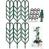 Jashem Garden Trellis for Climbing Plants 6 PCS Plastic Indoor Trellis for Potted Plants Green Stackable Leaf Shape Mini Clim
